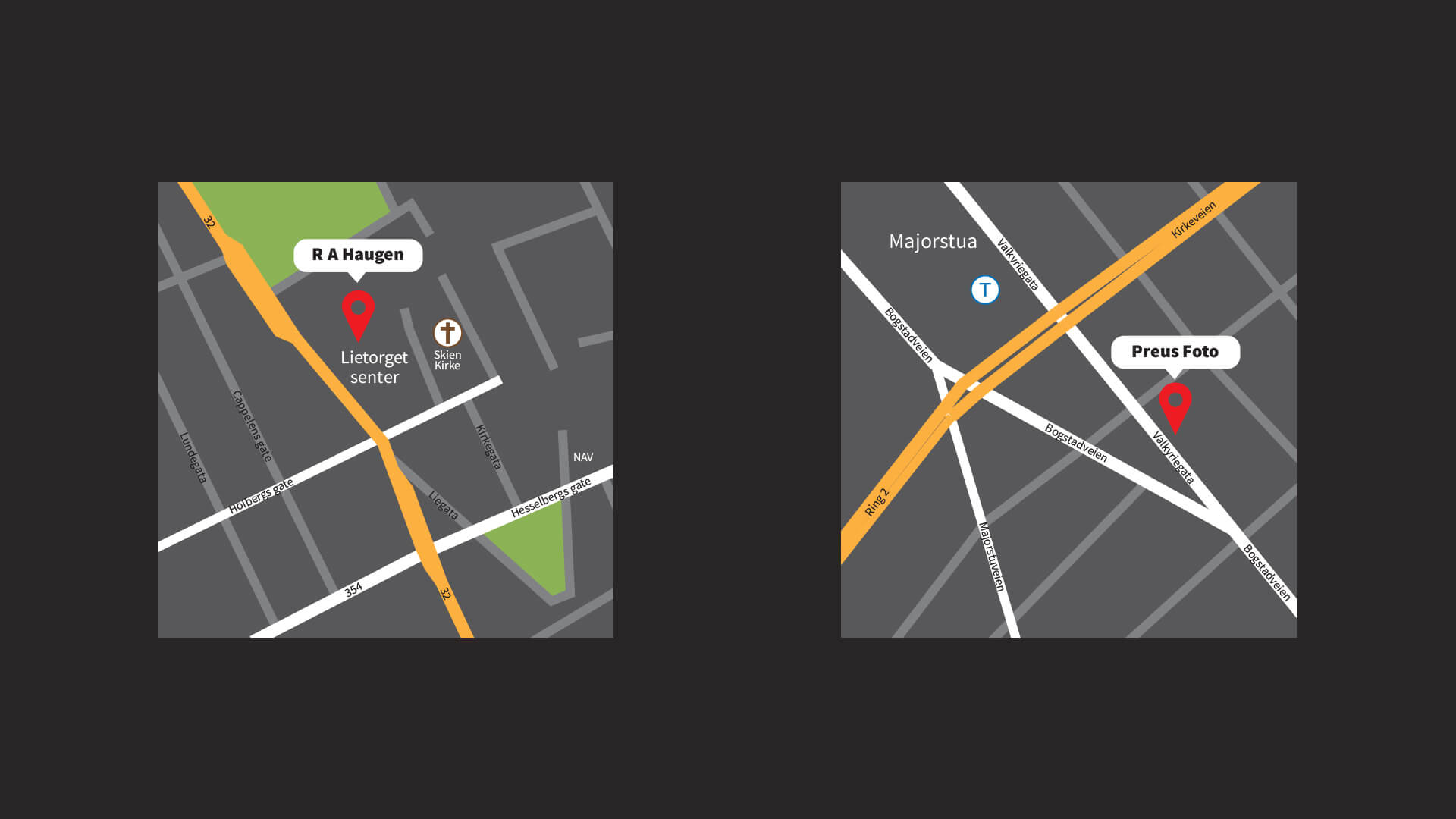 Maps designed to be copyright free and also mach the renewed exclusive brand look.